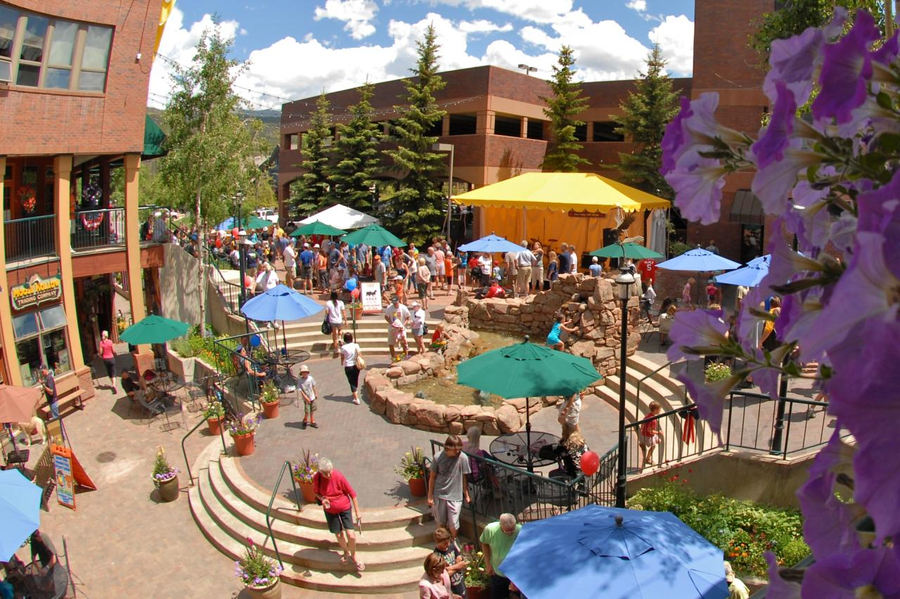 Busy courtyard at Cooper Creek Square in Winter Park, Colorado