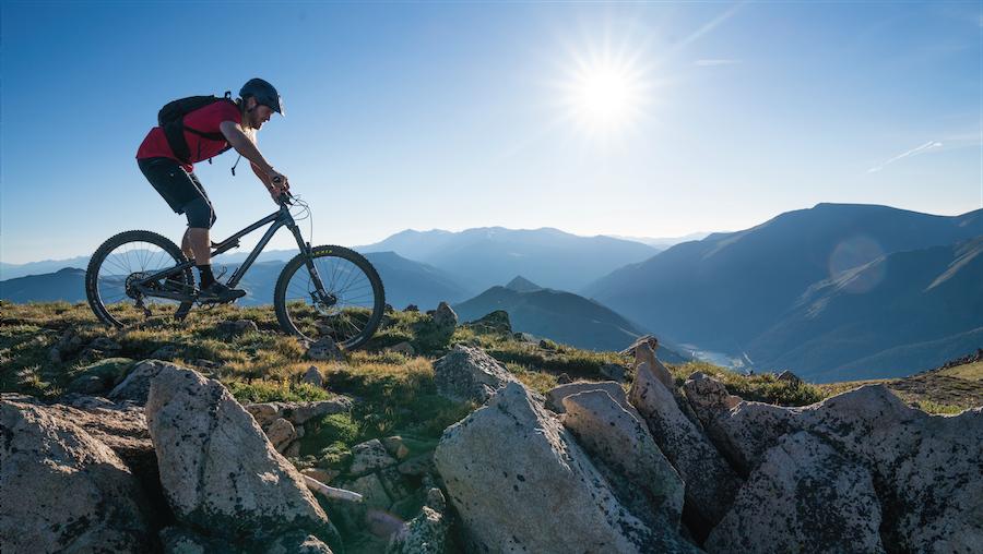 Summer Biker in Mountains