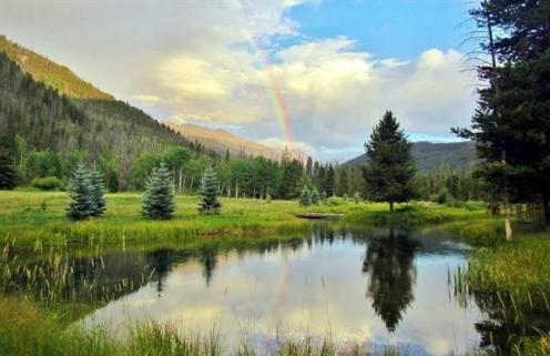 Little Indian Lake, our private lake at Arapaho Valley Ranch