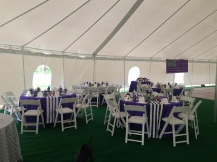 The tent set up for an event