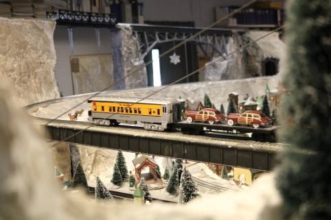 Model trains on bridge