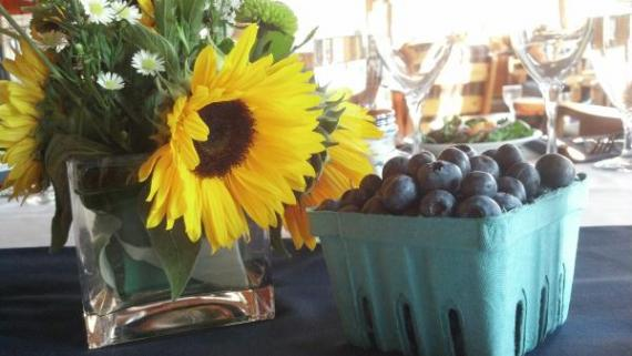 Sunflowers and Blueberries  Simple Centerpc