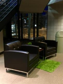 Seating in lobby closest to Highway 40.