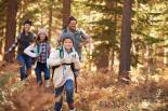Family hiking in the autumn