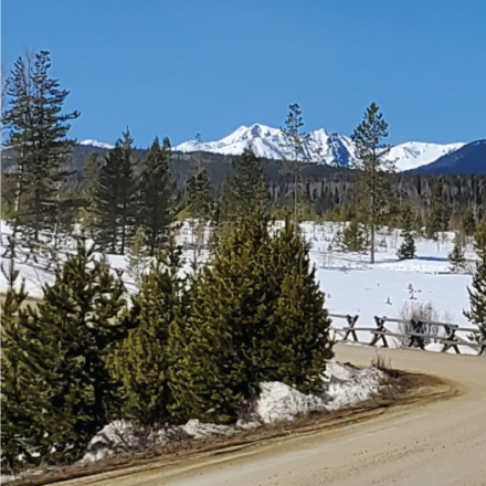Dry Dirt Road with View of Byers Peak
