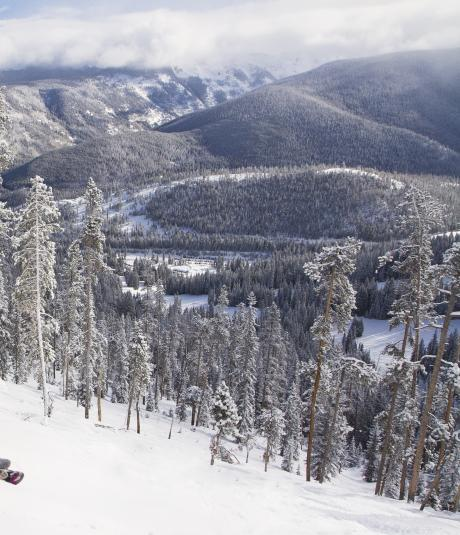 Skiing at Winter Park Resort with science views and fresh powder