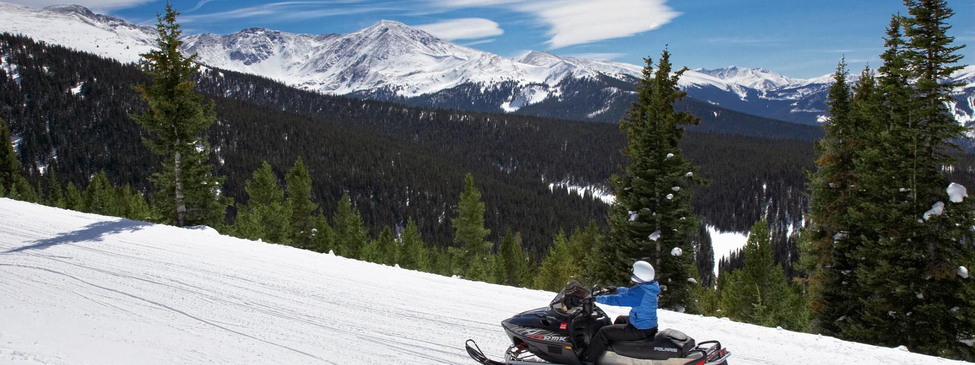 Snowmobile on the Continental Divide near Winter Park, Colorado