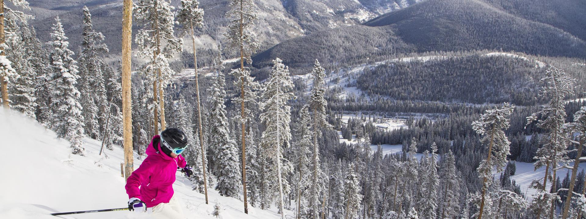 Skiing at Winter Park Resort with science views and fresh powder