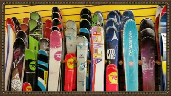 A few of our demo skis waiting for you to try!