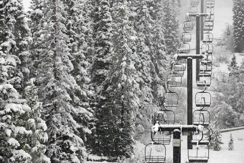Fresh snow on the chairlift