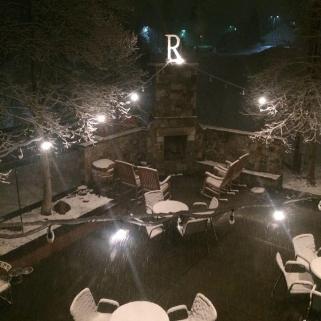 Randi's snowy nighttime patio
