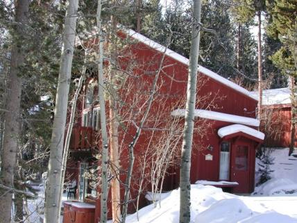 Winter view of cabin's exterior