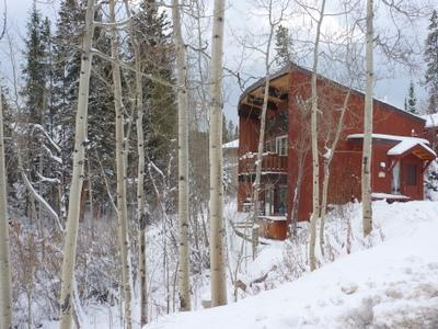 Winter exterior view of cabin