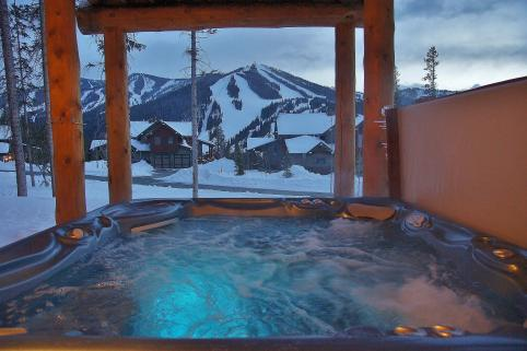 Outdoor private hot tub with views of WP Resort