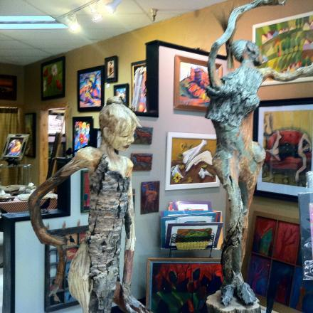 Painting and Scultures on display in an art gallery in Winter Park, Colorado