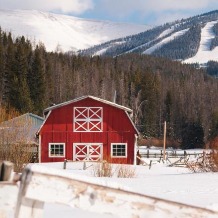 Snow Covered barn in Winter Park, Colorado