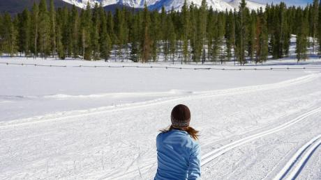 Cross-Country Skiing on a groomed meadow trail near Winter Park, Colorado