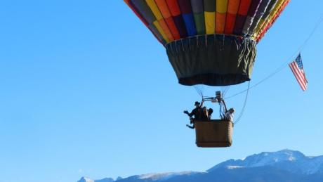 Soaring high in the sky near Rocky Mountain National Park in a hot air balloon in Winter Park, Colorado